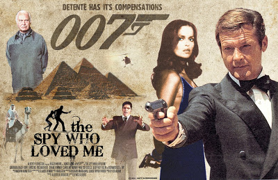 Arte promocional do filme. Em destaque a bond girl e espiã russa Anya Amasova, James Bond, Karl Stromeberg e Jaws.