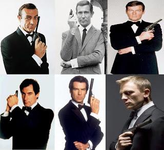 Os seis atores que interpretaram o espião 007. De cima, da esquerda para direita: Sean Connery, George Lazenby e Roger Moore. De baixo, da esquerda para direita: Timothy Dalton, Pierce Brosnan e Daniel Craig.